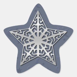 Estrella afiligranada de plata pegatina en forma de estrella