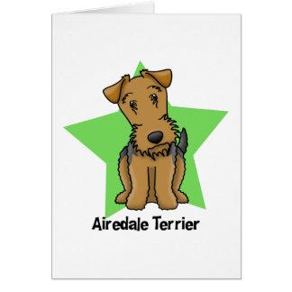 Estrella Airedale Terrier de Kawaii Tarjeta