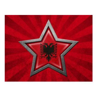 Estrella albanesa de la bandera con los rayos de l postal