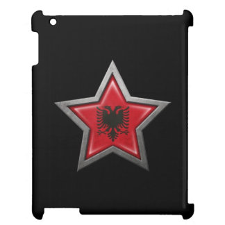 Estrella albanesa de la bandera en negro