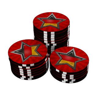 Estrella alemana de la bandera con los rayos de la juego de fichas de póquer
