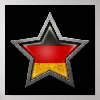 Estrella alemana de la bandera en negro impresiones