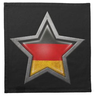 Estrella alemana de la bandera en negro servilleta imprimida