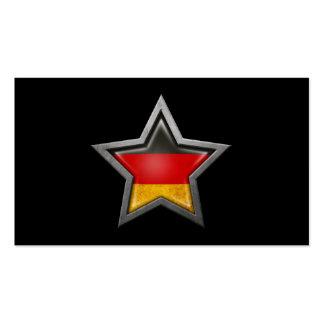 Estrella alemana de la bandera en negro tarjeta de visita
