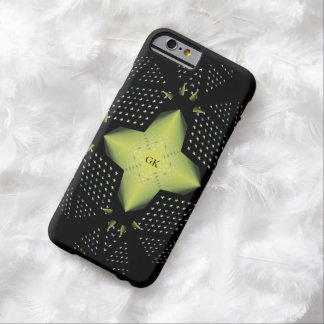 Estrella amarilla con iniciales funda de iPhone 6 barely there
