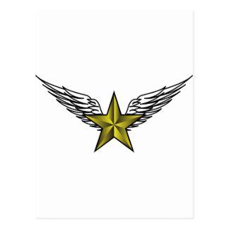 estrella amarilla con las alas postales