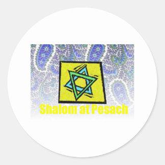 Estrella amarilla de Shalom de David Pesach Etiqueta Redonda