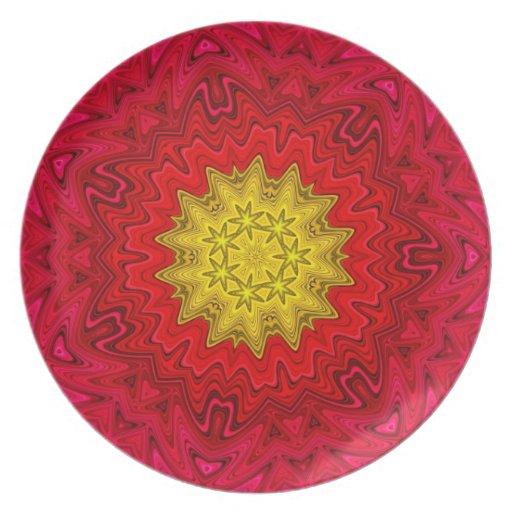 Estrella amarilla en mandala roja platos de comidas