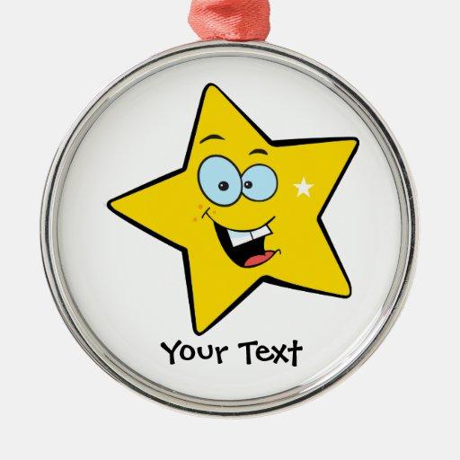 Estrella amarilla feliz adorno navideño redondo de metal