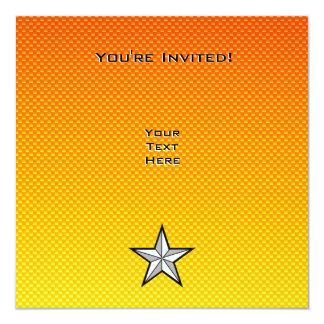 """Estrella amarillo-naranja invitación 5.25"""" x 5.25"""""""