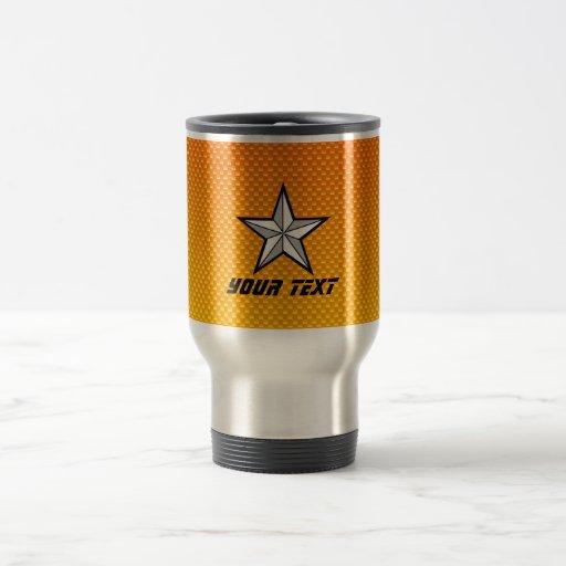 Estrella amarillo-naranja taza de viaje de acero inoxidable