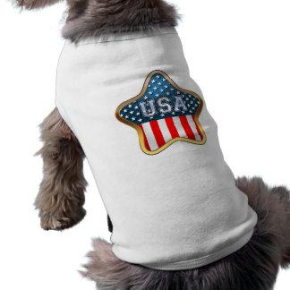 Estrella americana playera sin mangas para perro