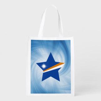 Estrella amistosa de la bandera de Marshall Bolsa Reutilizable