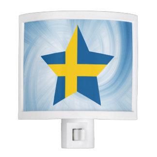 Estrella amistosa de la bandera de Suecia del niño Lámpara De Noche