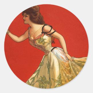 Estrella Ana del vodevil del Victorian detenido Pegatina Redonda