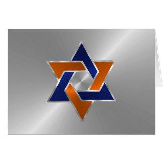 Estrella anaranjada azul de plata de Mitzvah de la Tarjeta Pequeña