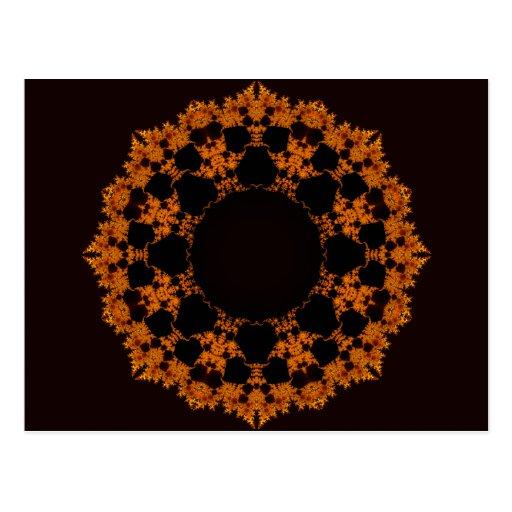 Estrella anaranjada del fractal tarjeta postal