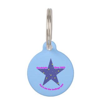 Estrella apretada del sueño de las buenas noches - placas para mascotas