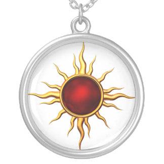 Estrella astral de la nueva edad: Sun de rubíes Colgante Redondo