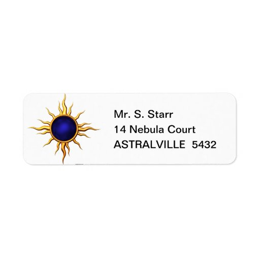 Estrella astral: Zafiro Sun Etiqueta De Remite