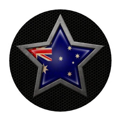 Estrella australiana de la bandera con el efecto d juego de fichas de póquer