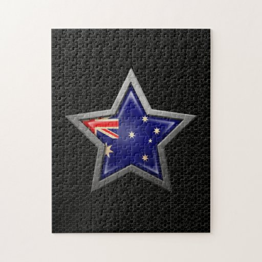 Estrella australiana de la bandera con el efecto d puzzles