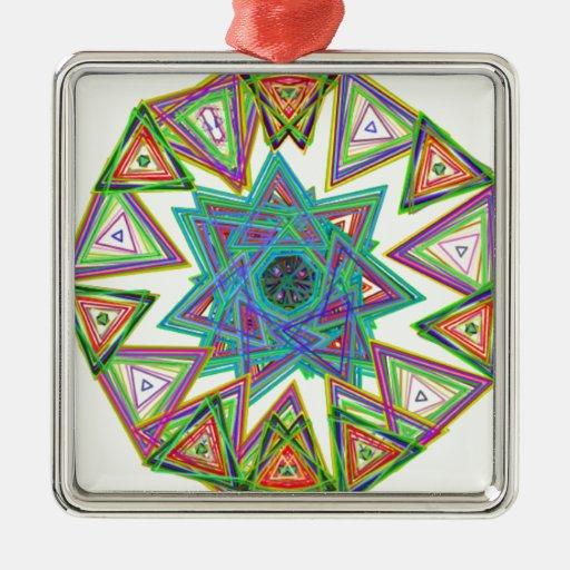 Estrella azteca adorno cuadrado plateado