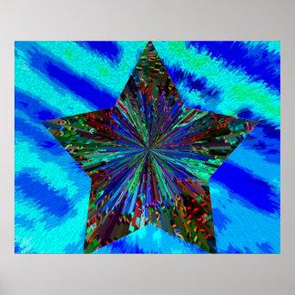 Estrella azul chispeante póster