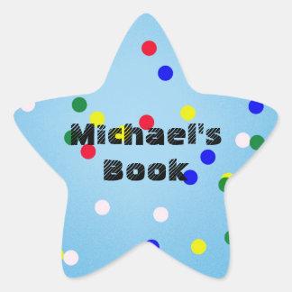 Estrella azul con el Bookplate de encargo de los Pegatina En Forma De Estrella