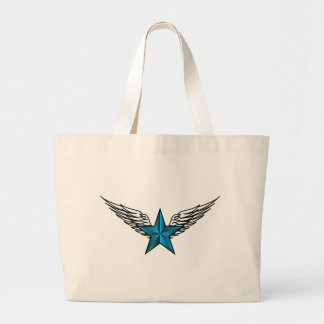 Estrella azul con las alas bolsa tela grande