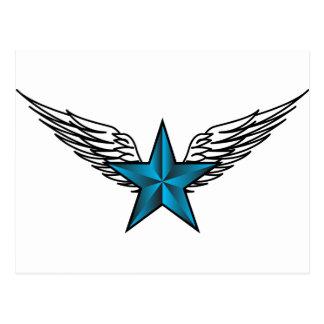 Estrella azul con las alas postal
