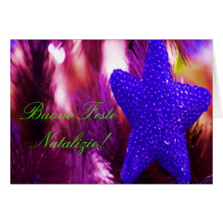 Estrella azul de Buone Feste Natalizie del navidad Tarjeta De Felicitación