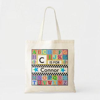 Estrella azul de la escuela de arte del alfabeto bolsa tela barata