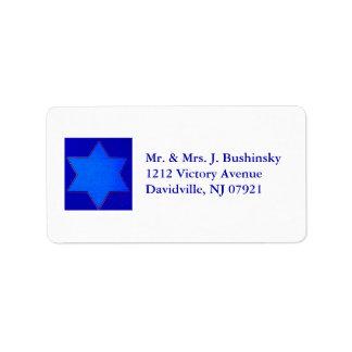Estrella azul de la etiqueta de David Etiqueta De Dirección
