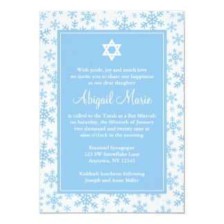 Estrella azul de la frontera del copo de nieve del invitación 12,7 x 17,8 cm