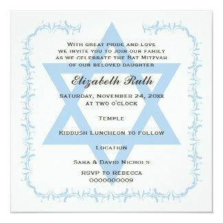 Estrella azul de la invitación de Mitzvah del palo Invitación 13,3 Cm X 13,3cm