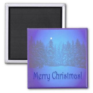 Estrella azul de los pinos imán cuadrado