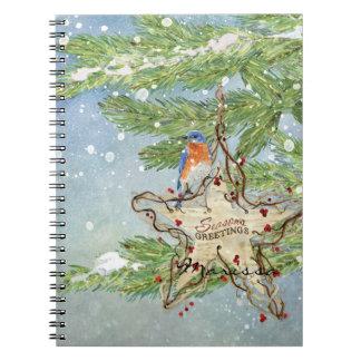 Estrella azul del abedul del pájaro de la libretas espirales