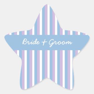 Estrella azul del boda de la lila de las rayas pegatina en forma de estrella