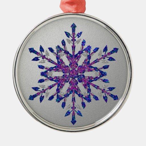 Estrella azul del brillo adorno navideño redondo de metal