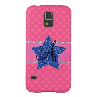 Estrella azul del brillo de los lunares rosados carcasas para galaxy s5