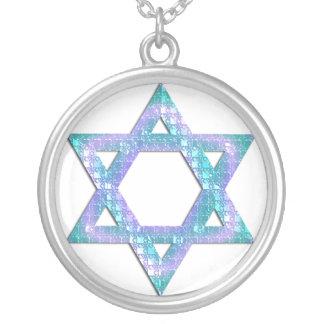 Estrella azul del brillo del diseño del collar de