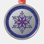 Estrella azul del brillo ornamento de navidad