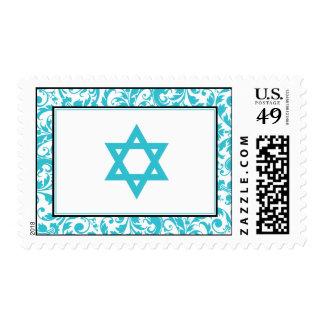 Estrella azul del damasco del remolino del trullo sellos