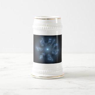 Estrella azul del fractal jarra de cerveza
