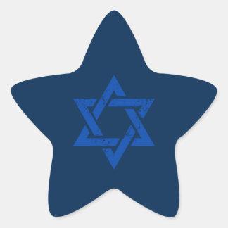 Estrella azul del Grunge de David Pegatina En Forma De Estrella