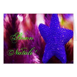 Estrella azul del navidad de Buon Natale del Tarjeta De Felicitación