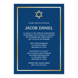 """Estrella azul del oro de las invitaciones de invitación 5"""" x 7"""""""