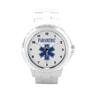 Estrella azul del paramédico de la vida relojes de pulsera