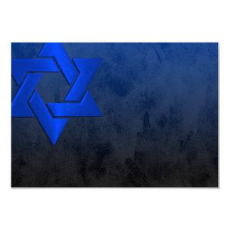 """Estrella azul elegante de Mitzvah de la barra de Invitación 3.5"""" X 5"""""""